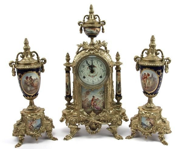 REPRO FRENCH THREE PIECE MANTLE CLOCK SET