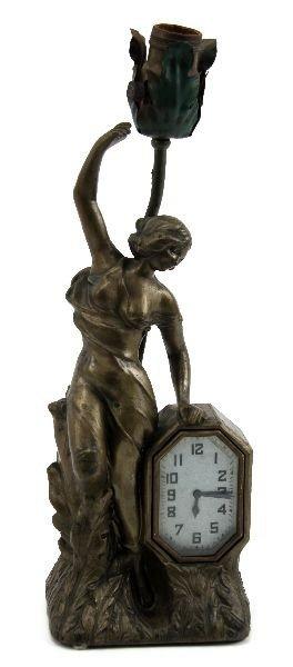 AMERIAN ART NOUVEAU STYLE FIGURE CLOCK AND LAMP