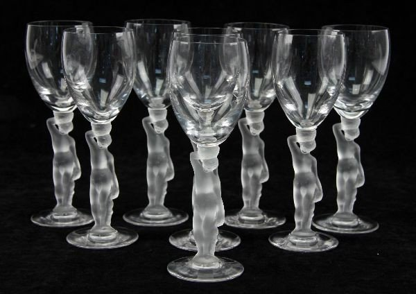 LALIQUE STYLE FIGURAL CRYSTAL WINE GLASSES (8)