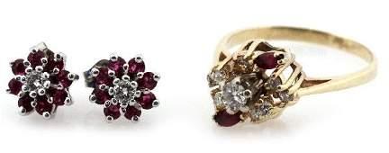 LADIES 14K GOLD RUBY  DIAMOND EARRINGS  RING LOT