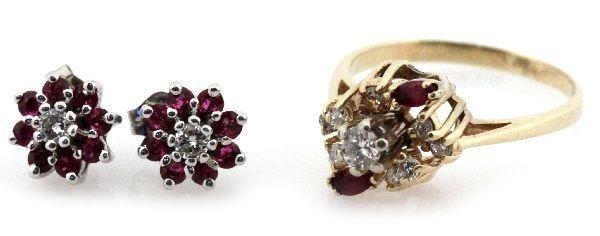 LADIES 14K GOLD RUBY & DIAMOND EARRINGS & RING LOT