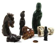 CHINESE CARVED HARD STONE FIGURE LOT OF 7