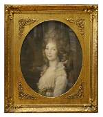 5031: LARGE FRAMED LITHOGRAPH PORTRAIT OF A YOUNG WOMAN