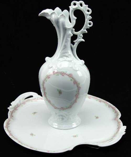 5103: GIRAUD LIMOGES SAUVIAT PORCELAIN TRAY AND PITCHER
