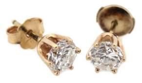 5151 LADIES 14K YELLOW GOLD 1CTW DIAMOND STUD EARRINGS