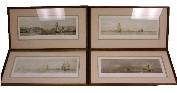 4 SAILING ENGRAVINGS BY A.C. & H.W. DICKINS 1926