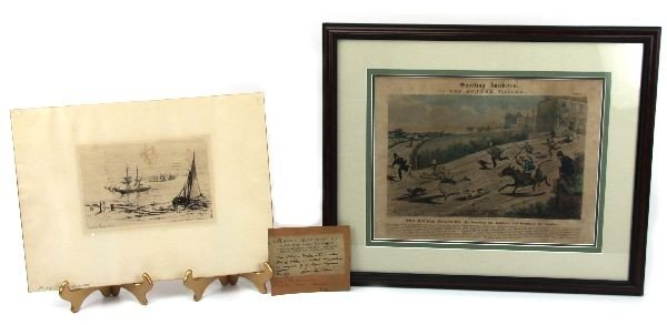 PAIR OF 19TH CENTURY PRINTS ONE MATTED AND FRAMED