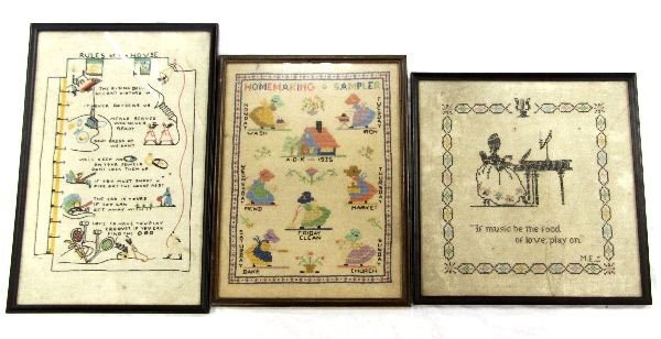 3 EMBROIDERED SAMPLERS 20TH CENTURY