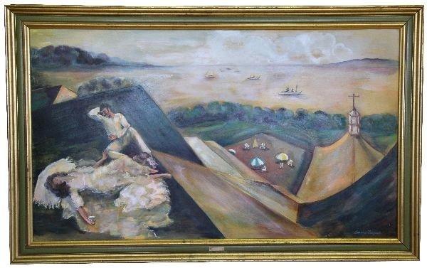 """LORRAINE FOUQUET-""""ROOFTOP PICNIC"""" OIL ON BOARD"""