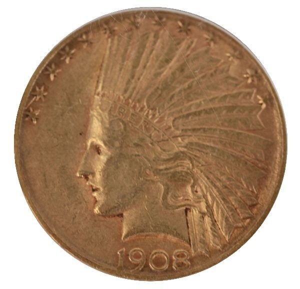 1908 S $10 INDIAN HEAD GOLD EAGLE COIN AU 53 PCGS