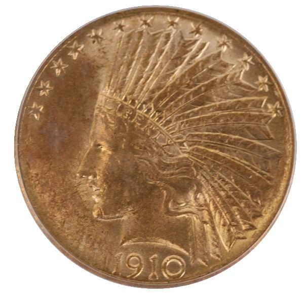 1910 S $10 INDIAN HEAD GOLD EAGLE COIN AU 58 PCGS