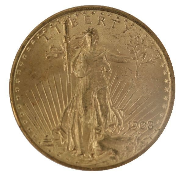1908 $20 ST GAUDENS NO MOTTO GOLD COIN MS 63 NGC