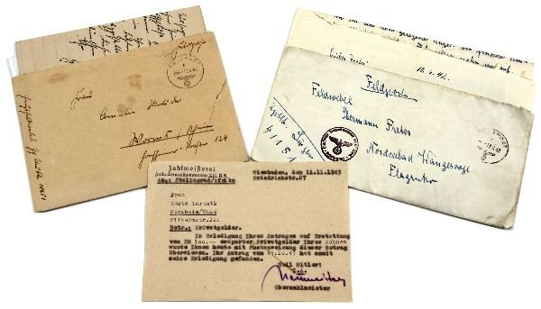 LOT OF 3 WWII GERMAN LETTERS AND TELEGRAM 1942-43