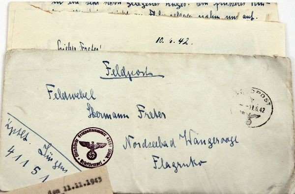 LOT OF 3 WWII GERMAN LETTERS AND TELEGRAM 1942-43 - 2
