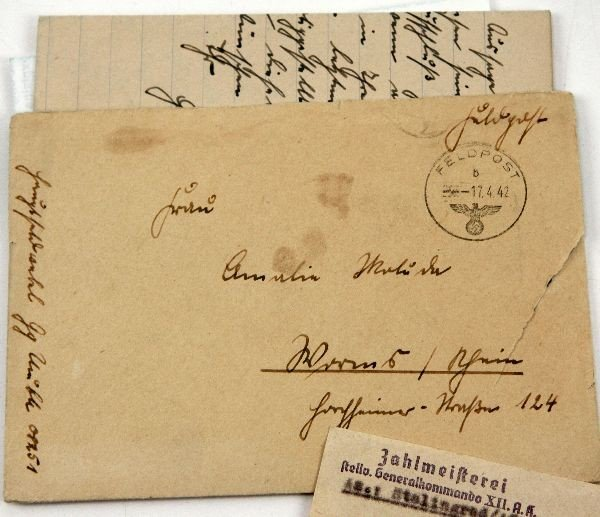 LOT OF 3 WWII GERMAN LETTERS AND TELEGRAM 1942-43 - 4