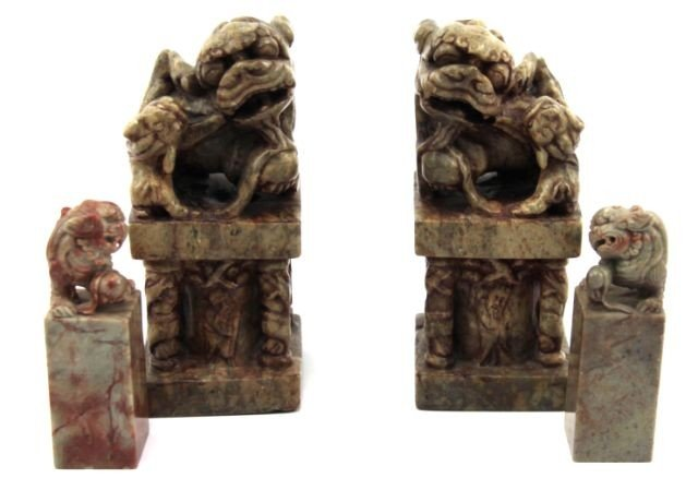 8014A: 2 PAIRS OF CHINESE CARVED SOAPSTONE FOO DOGS