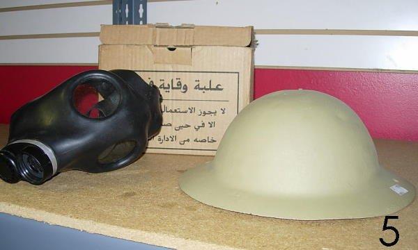 505: WWI ARMY HELMET & ISRAELI GAS MASK IN ORIGINAL BOX