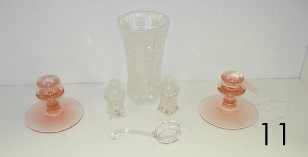 5011: ANTIQUE GLASS LOT PINK DEPRESSION GLASS
