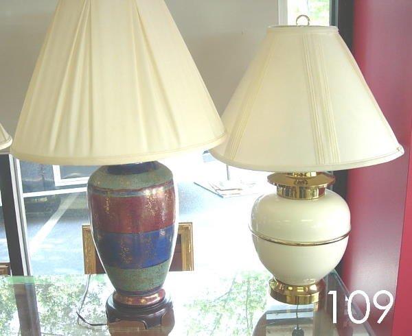 50109: MODERN TABLE LAMP LOT OF 2 CREAM BRASS