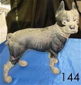50144: ANTIQUE CAST IRON BOSTON TERRIER DOG FIGURINE ST
