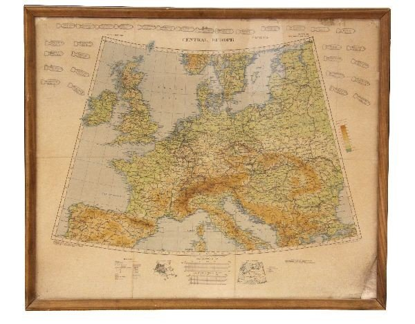 WW2 CENTRAL EUROPE MAP W BOMBING MISSIONS DATED