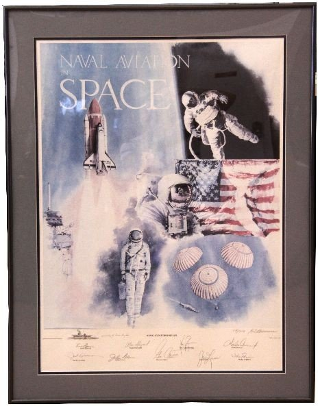 NAVAL AVIATION IN SPACE ASTRONAUT SIGNED PRINT