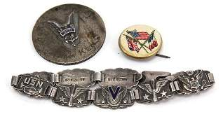 1WWII STERLING VICTORY BRACELET AND SWEETHEART PIN