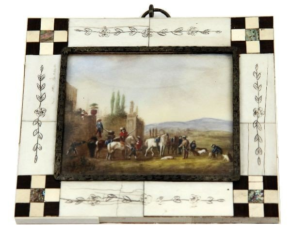 18TH CENTURY HUNT SCENE HAND PAINTED IVORY SIGNED