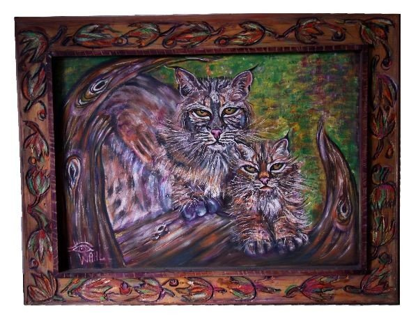 """BOB CATS"" BY PAT WAHL ORIGINAL OIL PAINTING"