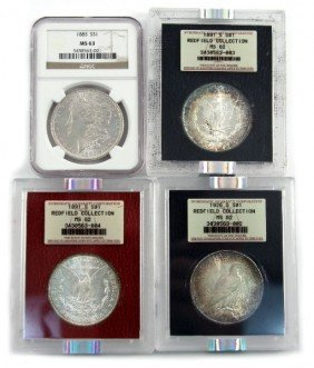 REDFIELD COLLECTION NGC MS62 63 MORGAN DOLLAR LOT