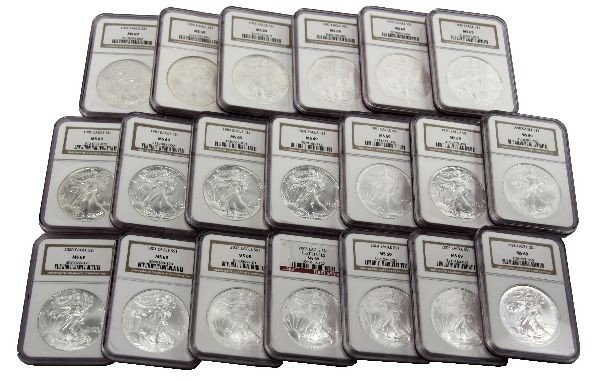 20 SILVER AMERICAN EAGLE LOT NGC MS69 1986 TO 2005