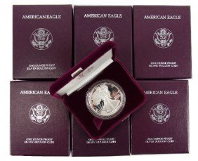 PROOF SILVER AMERICAN EAGLES 4 1986 1 1987 1 1991