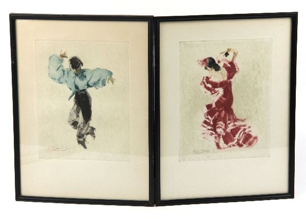 PAIR OF HAND COLORED ENGRAVINGS BY ROC RIERA ROJAS