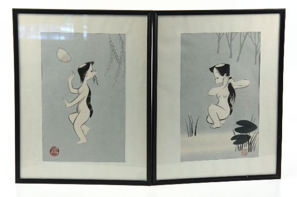 PAIR OF HAND EMBELLISHED JAPANESE PRINTS OF A NUDE