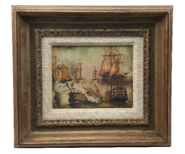 SIGNED OIL ON CANVAS OF A NAVAL BATTLE SCENE