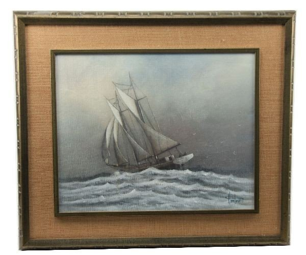 VINTAGE OIL ON CANVAS PAINTING OF A SHIP BY PARKER