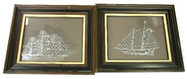 TWO FRAMED STERLING SILVER SILHOUETTES OF SHIPS