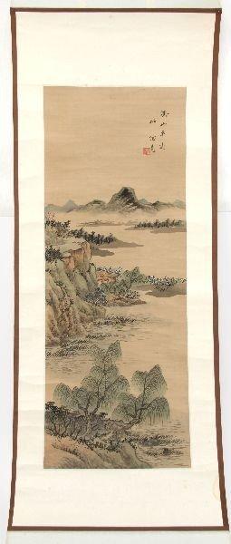 JAPANESE SILK WATER COLOR LANDSCAPE SCROLL
