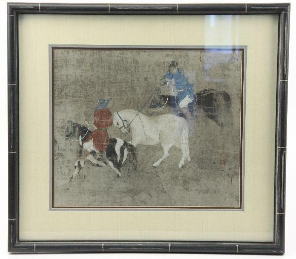 SIGNED JAPANESE WOODBLOCK PRINT- MEN ON HORSEBACK