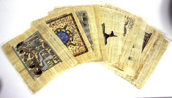 LOT OF 12 CONTEMPORARY EGYPTIAN PAPYRUS PAINTINGS