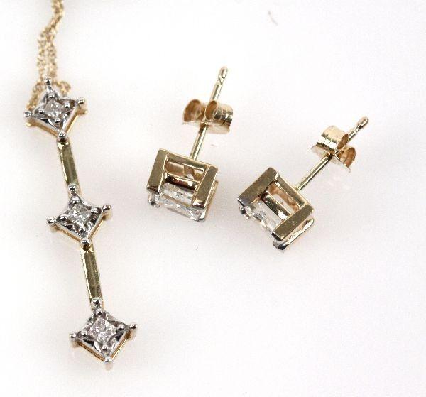 LADIES 14K GOLD DIAMOND EARRINGS & 10K PENDANT