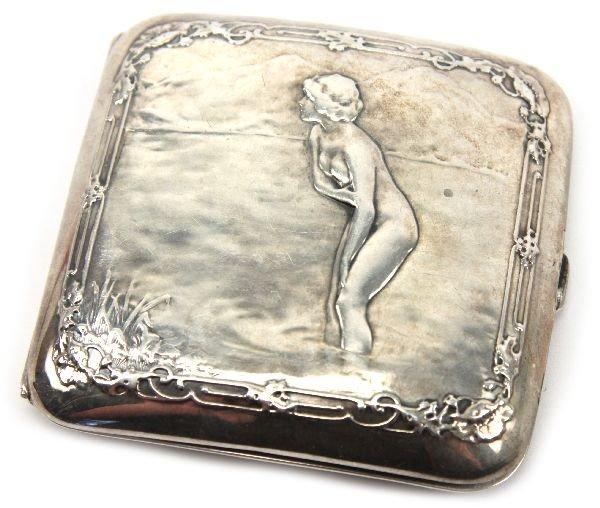 ART NOUVEAU NUDE STERLING CIGARETTE OR CARD CASE