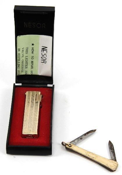 GOLD PLATED NESOR LIGHTER & HAYWARD POCKET KNIFE