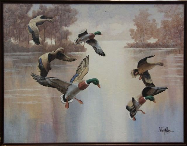 6018A: LARGE ORIGINAL PAINTING BY LEE REYNOLDS OF DUCKS