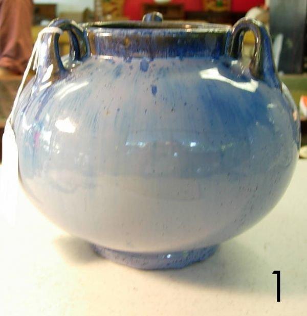 601: FULPER 864 3 HANDLED VASE BLUE PURPLE CRYSTALLINE