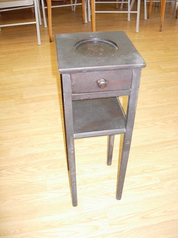 6096: ANTIQUE SMOKER'S STAND SIDE TABLE W DRAWER - 2