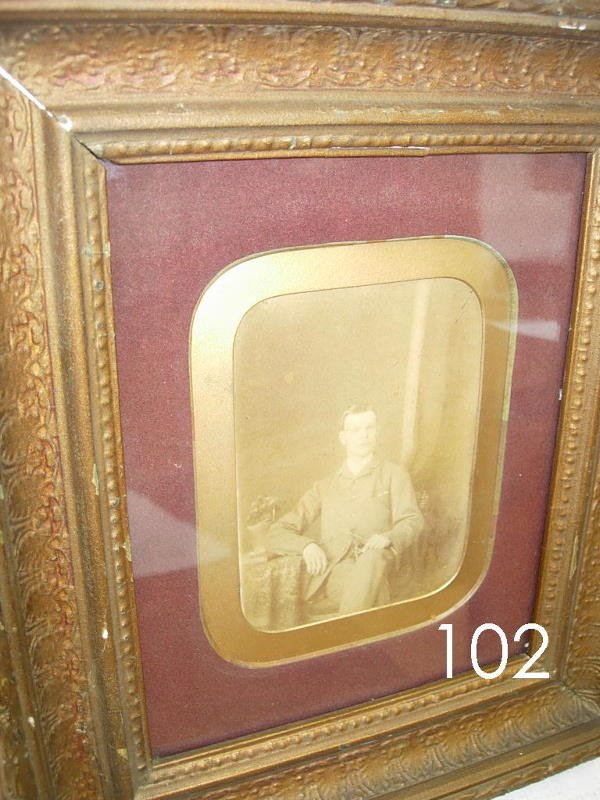 60102: ANTIQUE PHOTOGRAPH MAN IN GOLD GILDED FRAME