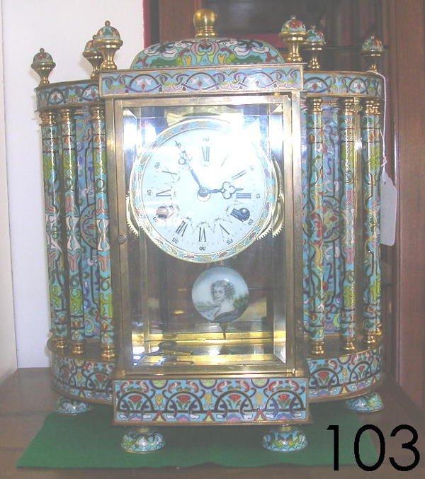 60103: ANTIQUE CLOISONNE PENDULUM MANTLE CLOCK PAINTED