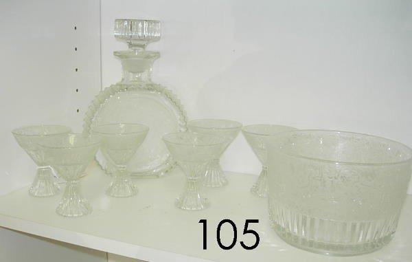 60105: ANTIQUE ETCHED CUT GLASS LOT - DECANTER BOWLS ET