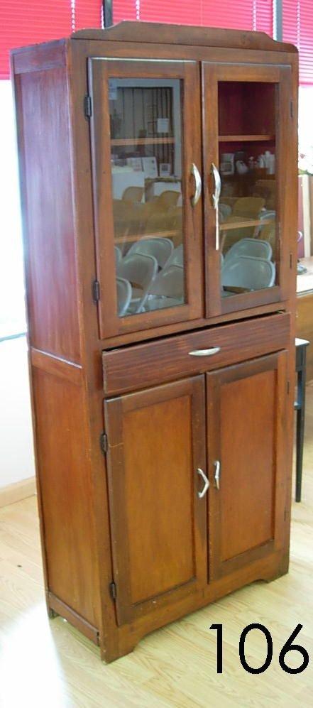 60106: ANTIQUE KITCHEN CUPBOARD PINE W GLASS DOORS